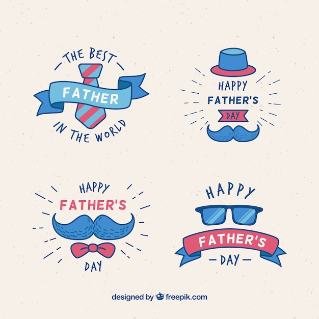 Insignes de fête des pères avec des éléments de vêtements Vecteur gratuit