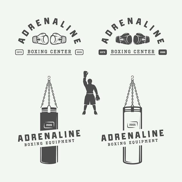 Insignes De Logo De Boxe Vecteur Premium