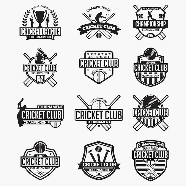Insignes et logos du club de cricket Vecteur Premium