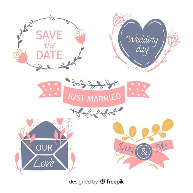 Insignes de mariage floral dessinés à la main Vecteur gratuit
