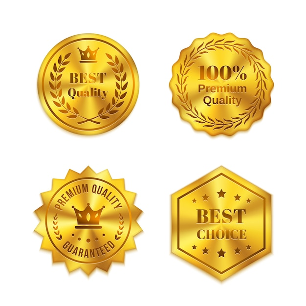 Insignes En Métal Doré Isolés Sur Fond Blanc. Meilleure Qualité, Meilleur Choix, Garantie Vecteur gratuit