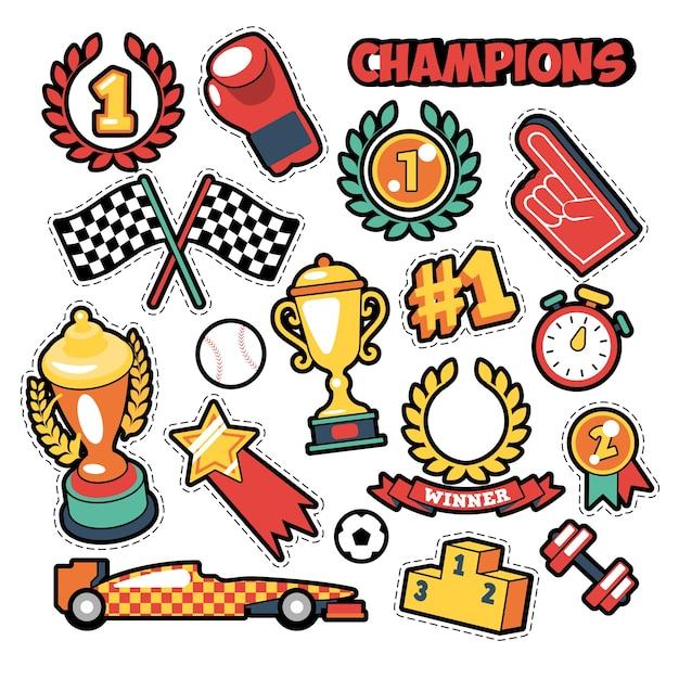 Insignes De Mode, Patchs, Autocollants Dans Le Thème Des Champions De Style Bande Dessinée Avec Des Coupes, Des Médailles Et Des équipements Sportifs. Fond Rétro Vecteur Premium