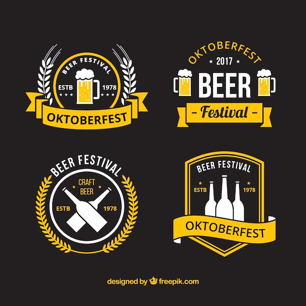 Insignes modernes pour la fête de la bière allemande Vecteur gratuit