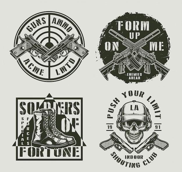 Insignes Monochromes Militaires Vintage Vecteur gratuit