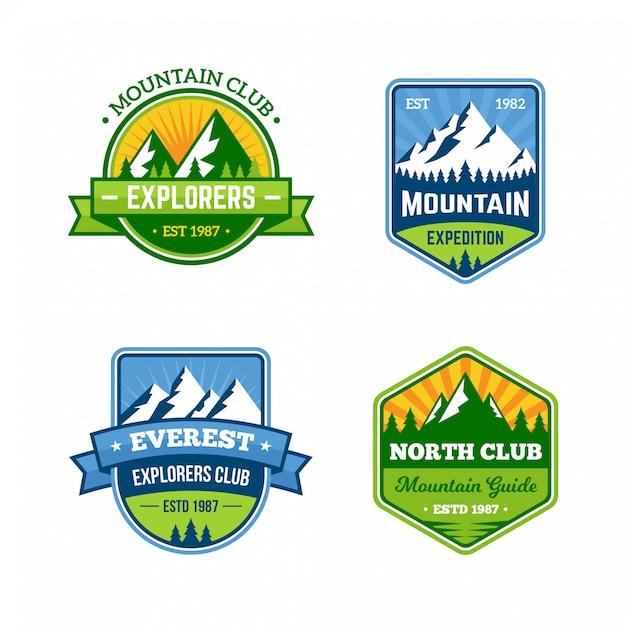 Insignes de montagne rétro Vecteur Premium