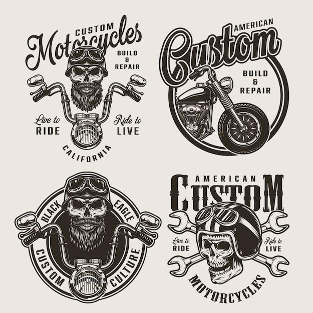 Insignes De Moto Personnalisés Monochromes Vintage Vecteur gratuit