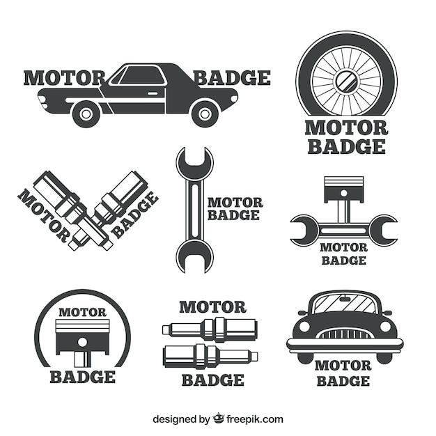 Insignes Pour Les Ateliers De Réparation Automobile Vecteur Premium