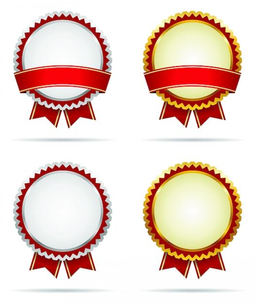 Insignes De Récompense D'or Et D'argent Vecteur Premium