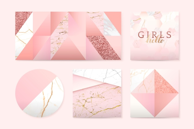 Insignes Roses Girly Vecteur gratuit
