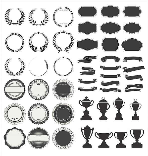Insignes et trophées vintage premium styled ribbons Vecteur Premium