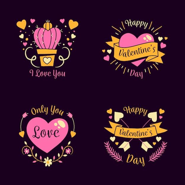 Insignes de valentine dessinés à la main avec des rubans Vecteur gratuit