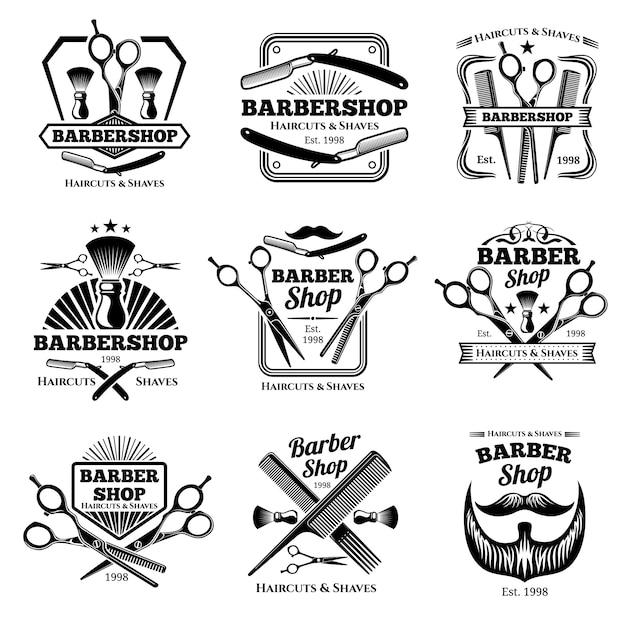 Insignes De Vecteur Pour Le Salon De Coiffure Rétro. étiquettes De Salon De Coiffure Moderne Et Emblèmes De Coiffeur Vecteur Premium