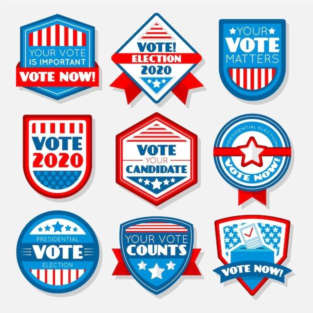 Insignes De Vote Et Autocollants Vecteur Premium