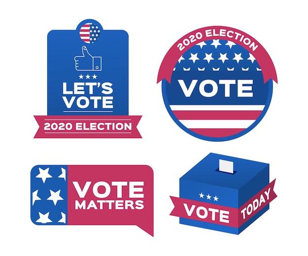 Insignes De Vote Et Pack D'autocollants Vecteur Premium
