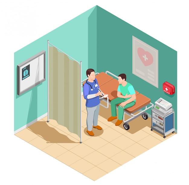 Inspection Chez Le Docteur Composition Isométrique Vecteur gratuit