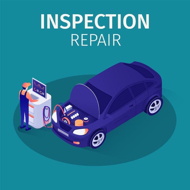 Inspection d'inspection professionnelle dans autoservice Vecteur Premium