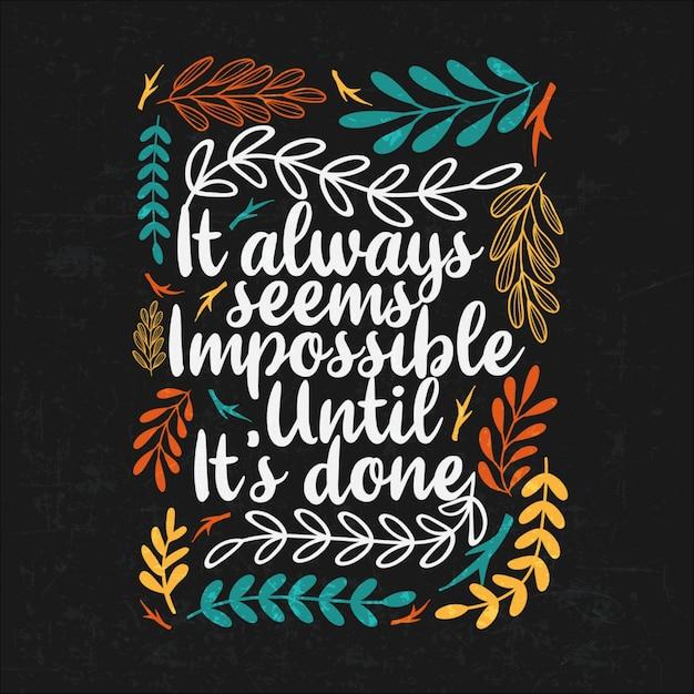 Inspiration - citations de motivation typographiques avec des éléments floraux Vecteur Premium
