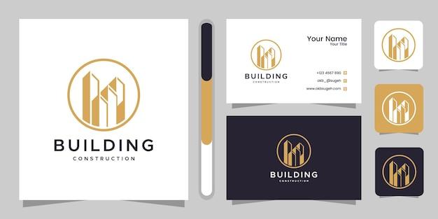 Inspiration De Conception De Logo De Construction De Bâtiment Et Carte De Visite. Vecteur Premium