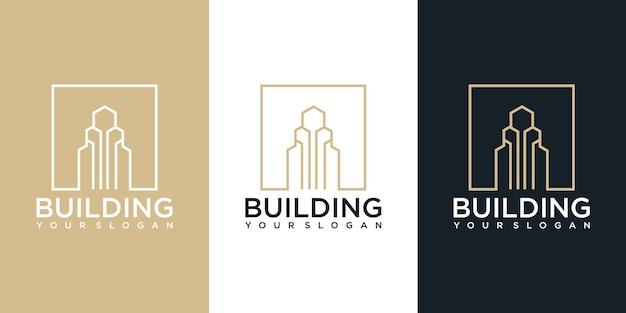 Inspiration De Conception De Logo De Construction De Bâtiment. Création De Logo Vecteur Premium