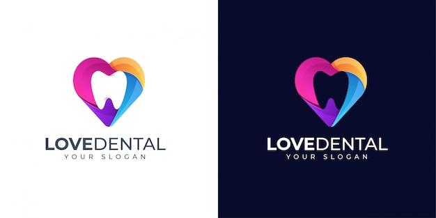 Inspiration De Conception De Logo Dentaire Tooth And Love Vecteur Premium