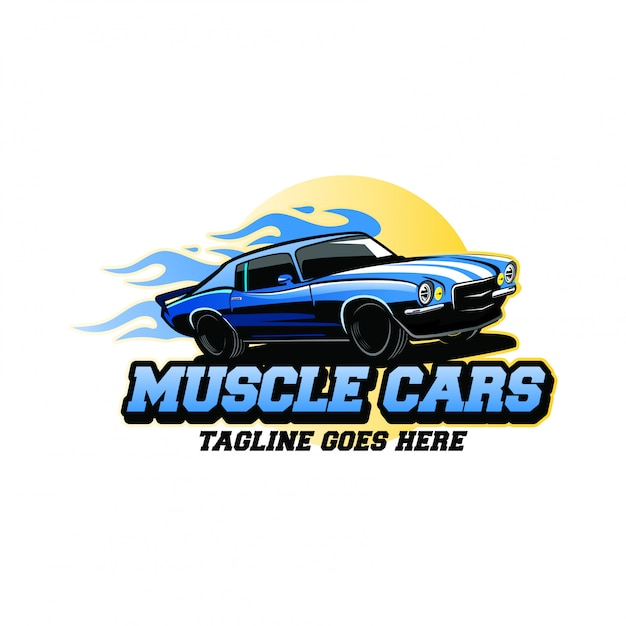 Inspiration de conception de logo de muscle cars Vecteur Premium