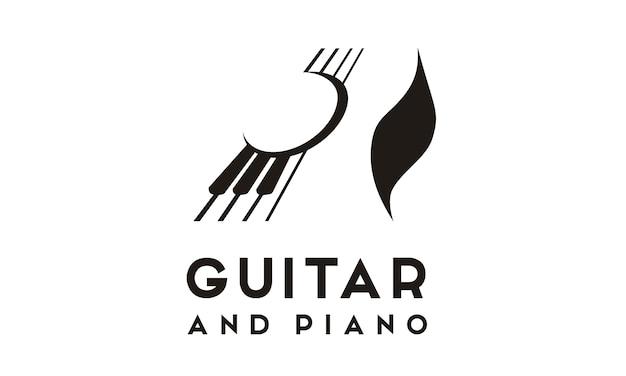 Inspiration de conception de logo de piano de guitare Vecteur Premium