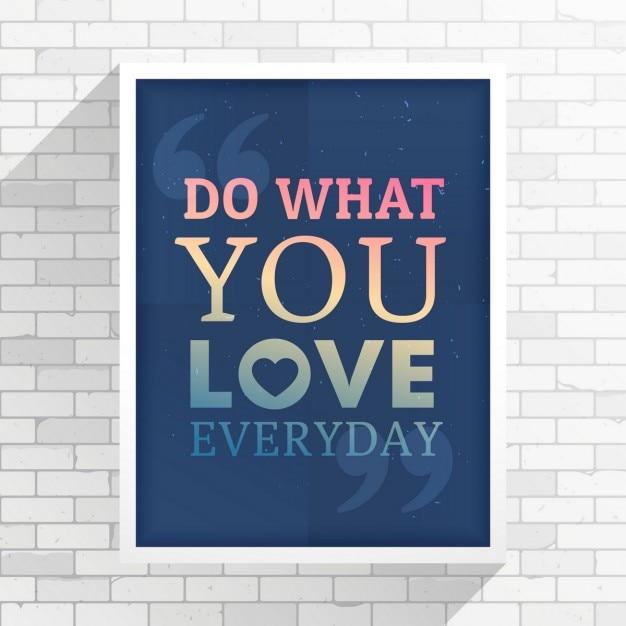 L'inspiration cotation sur une place de cadre blanc sur le mur blanc Vecteur gratuit