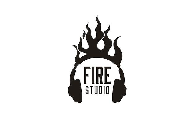 Inspiration du logo flame headphone Vecteur Premium