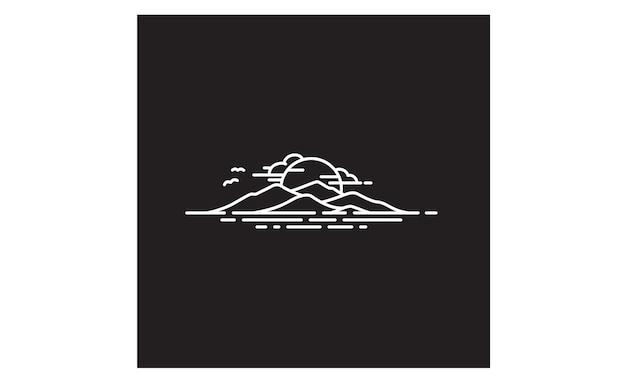 Inspiration du logo de l'île d'hawaï / de la montagne et de la mer Vecteur Premium
