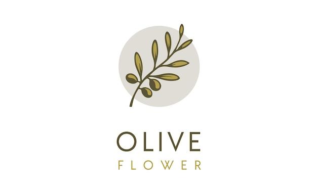 Inspiration de logo de fleur d'olive Vecteur Premium