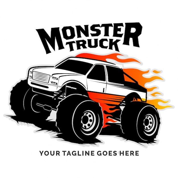 Inspiration Pour La Conception De Logo Vectoriel Monster Truck Vecteur Premium