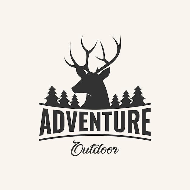 Inspiration pour la création de logos d'aventure avec élément en daim et pin, Vecteur Premium