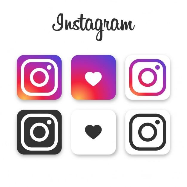 Instagram Collection D'icônes Vecteur gratuit