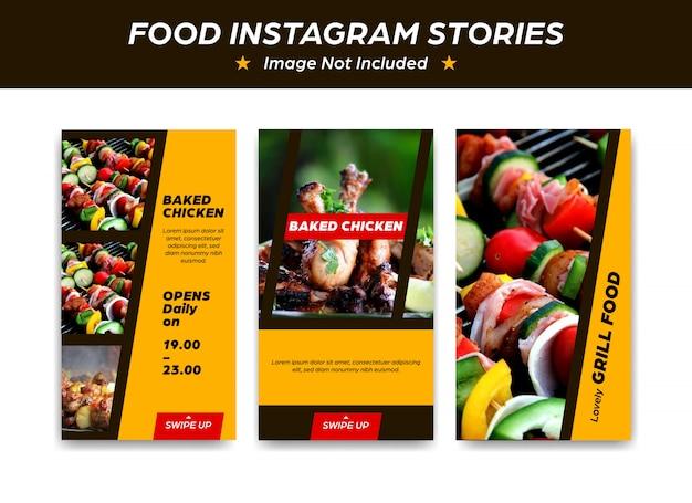 Instagram Modèle De Conception De Modèle Pour Le Restaurant Alimentaire Cuit Au Four Barbecue Barbecue Vecteur Premium