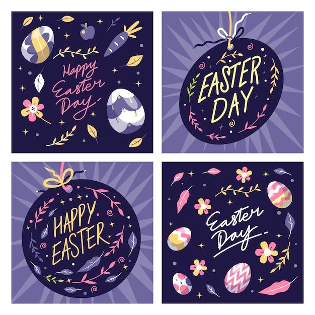 Instagram Post De Pâques Avec Des Oeufs Et Des Fleurs Vecteur gratuit