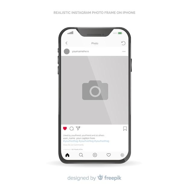 Instagram post template sur iphone Vecteur gratuit