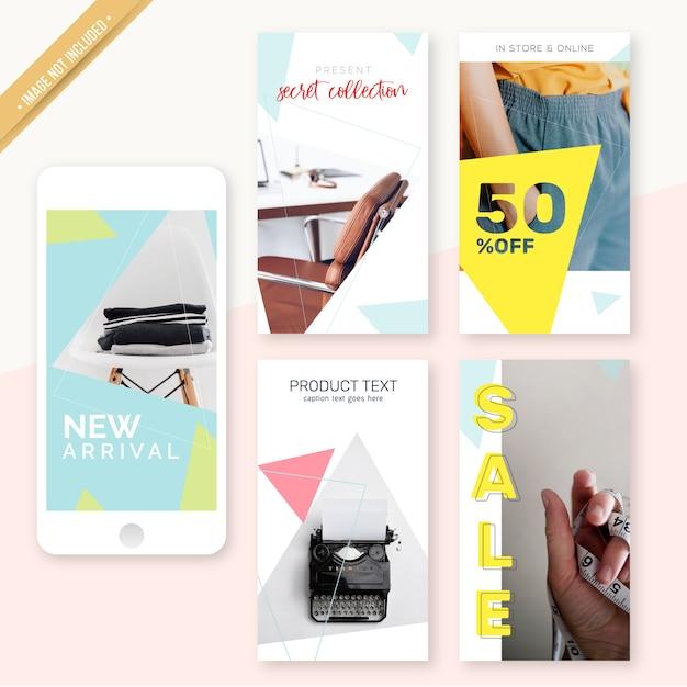 Instagram stories design minimaliste Vecteur Premium