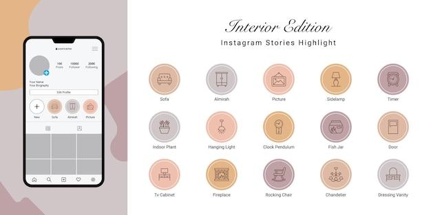 Instagram Stories Met En évidence La Couverture Pour L'intérieur Vecteur Premium