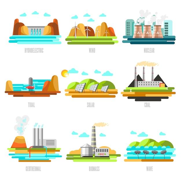 Installations et sources de production d'électricité Vecteur Premium