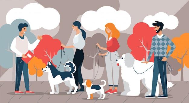 Instructeur et éleveur de chiens avec des chiens. loisir. Vecteur Premium