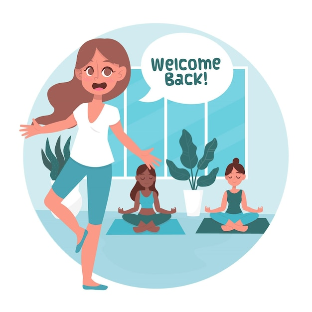 L'instructeur Souhaite La Bienvenue Aux Cours De Yoga Vecteur gratuit