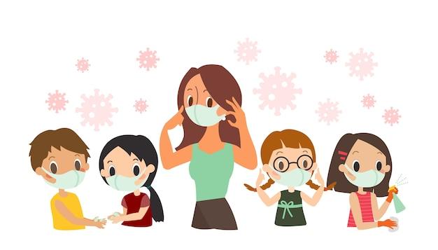 Instruction de protection covid-19 pour les enfants. enseignant et étudiant portant un masque protecteur, lavage des mains, pulvérisation de désinfectant antibactérien, illustration de dessin animé Vecteur Premium