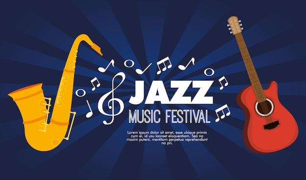 Instrument guitare et saxophone Vecteur Premium