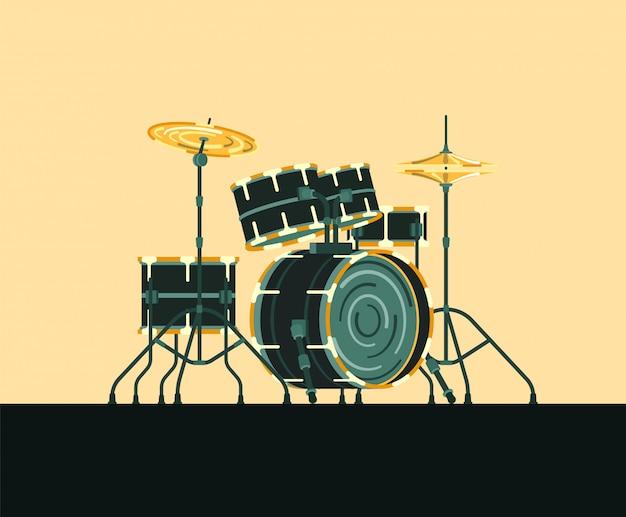 Instrument de musique batterie Vecteur Premium