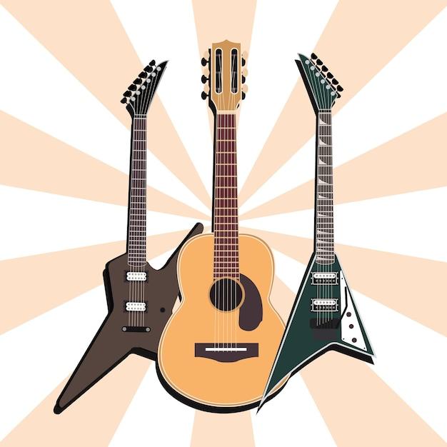 Instrument De Musique Guitares Acoustiques Et électriques, Illustration De Fond Sunburst Vecteur Premium