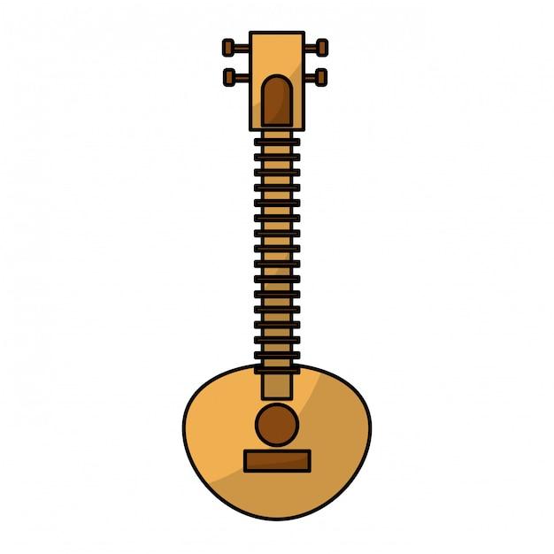Instrument de musique indienne sitar Vecteur Premium
