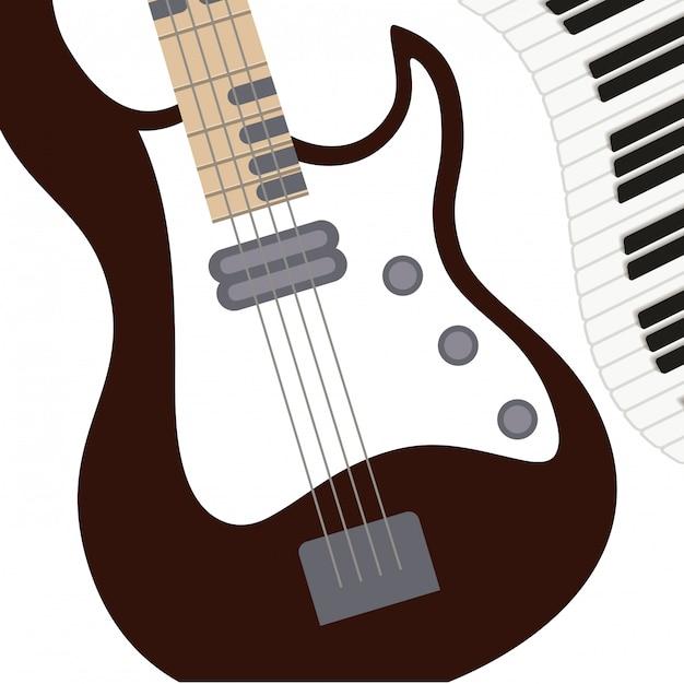 Instrument de musique modèle guitare électrique Vecteur Premium