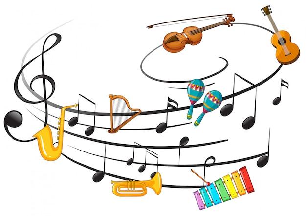 Instrument de musique avec note de musique Vecteur Premium
