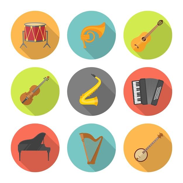 Instrument De Musique Situé Dans Des Cercles Colorés Vecteur Premium