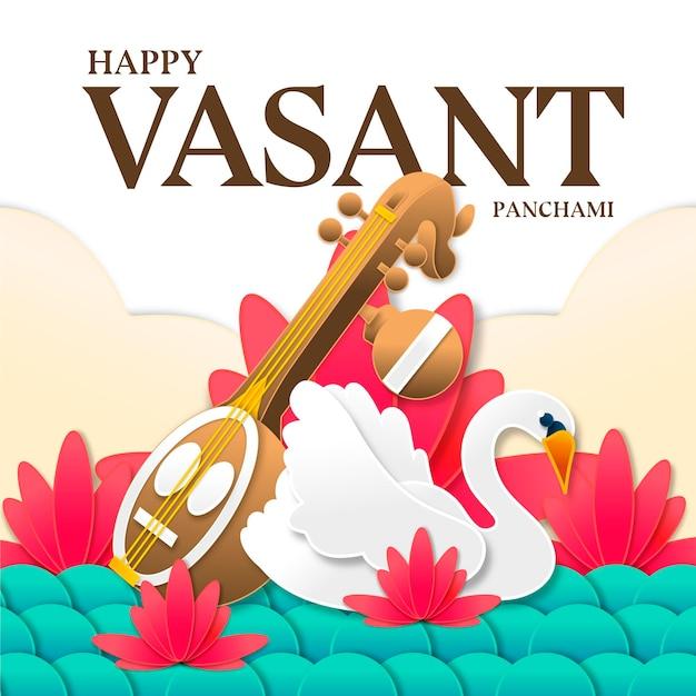 Instrument De Musique Vasant Panchami Et Cygne Vecteur gratuit